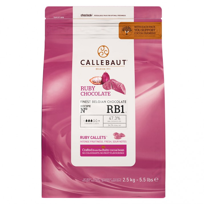 Callets Chocolate Ruby rosa 2,5 kg - Callebaut