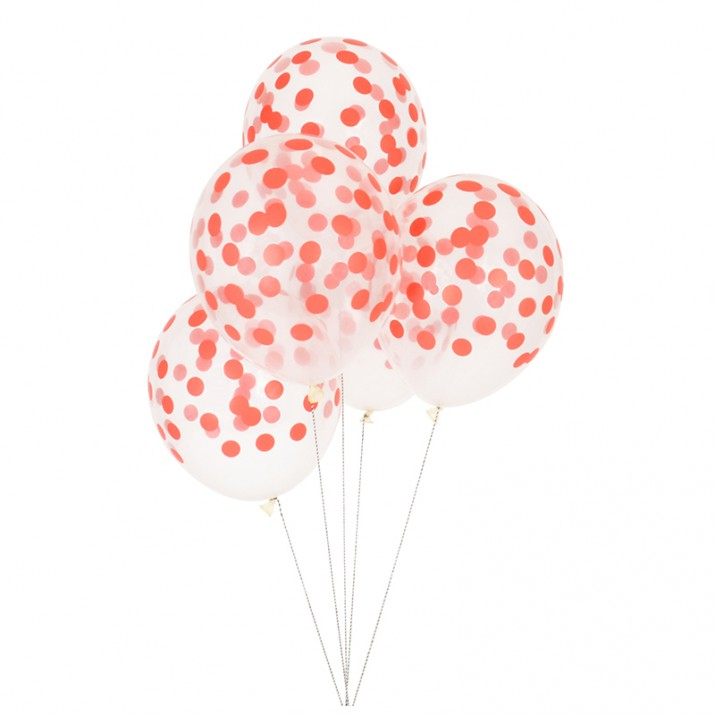 Globos transparentes confeti rojo (5) - My Little Day