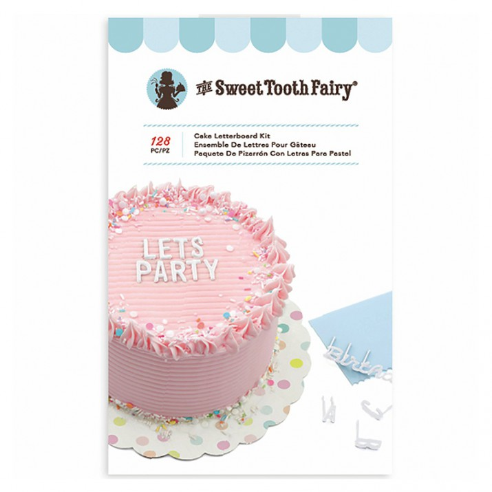 Kit scraper, letras y números blancos para decorar tartas (128) - The Sweet Tooth Fairy
