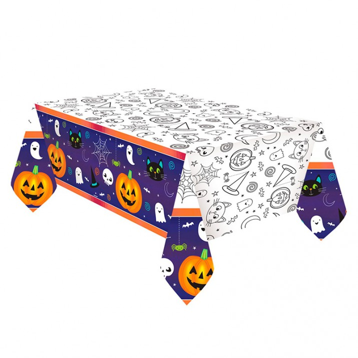 Mantel de papel Happy Halloween 1,20 x 1,80 m