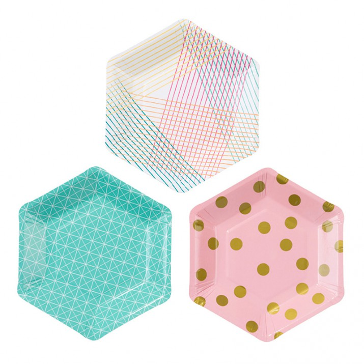 Platos pequeños hexagonal Party Time 18,5 cm (12) - Talking Tables