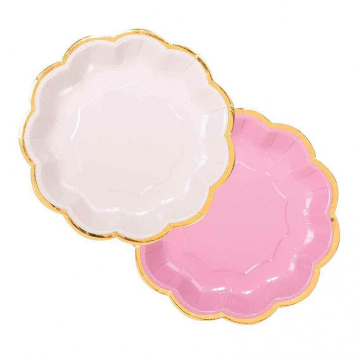 Platos rosas con filo ondulado dorado 17 cm (12) - Talking Tables