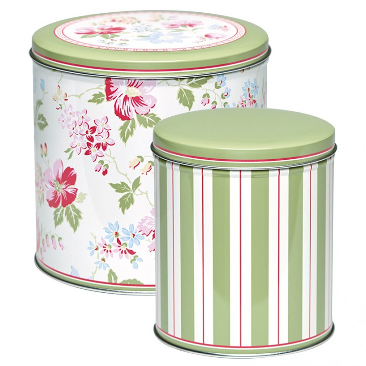 Set 2 latas redondas Donna White - GreenGate