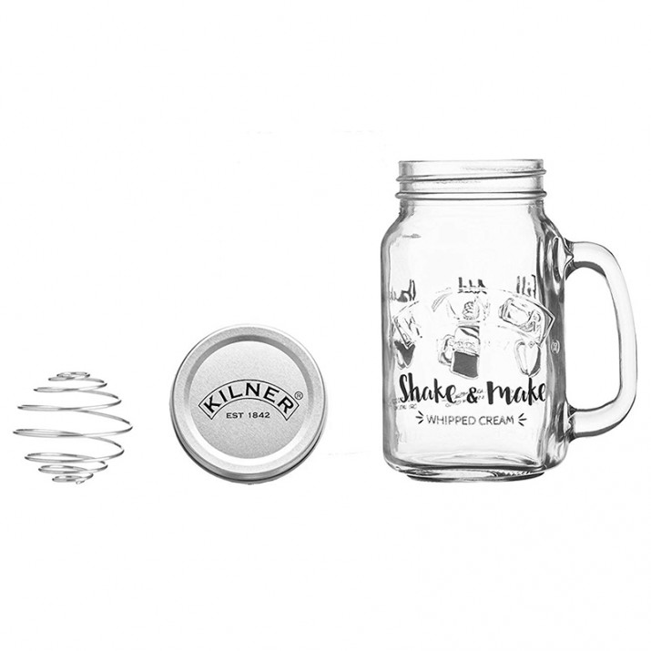 Jarra, tapa y batidor para montar nata Shake and Make 540 ml - Kilner