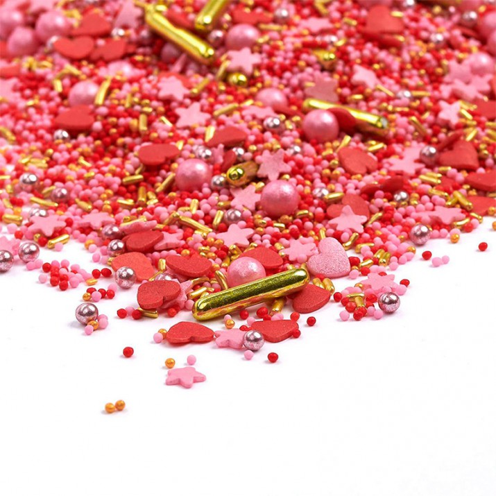 Sprinkles rojo, rosa y dorado Head over Heels 90 gr - Happy Sprinkles