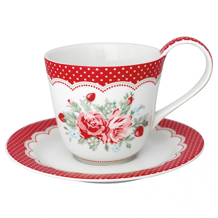 Taza de té y plato Mary White - GreenGate