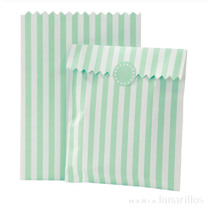 Bolsas de papel mint con pegatinas (10) - Talking Tables