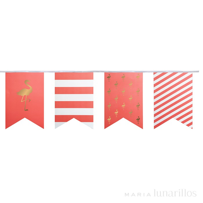 Guirnalda de papel Preppy Flamingo 4,5 metros - Delight Department