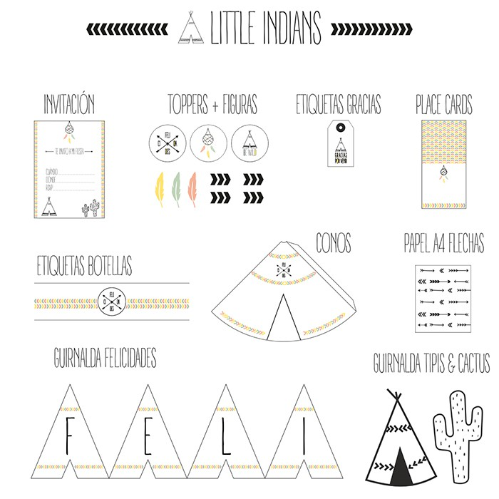 Imprimible Fiesta Little Indians - Nina Designs