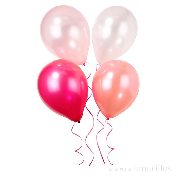 Globos brillantes y cinta rosa Pink N Mix (12) - Talking Tables