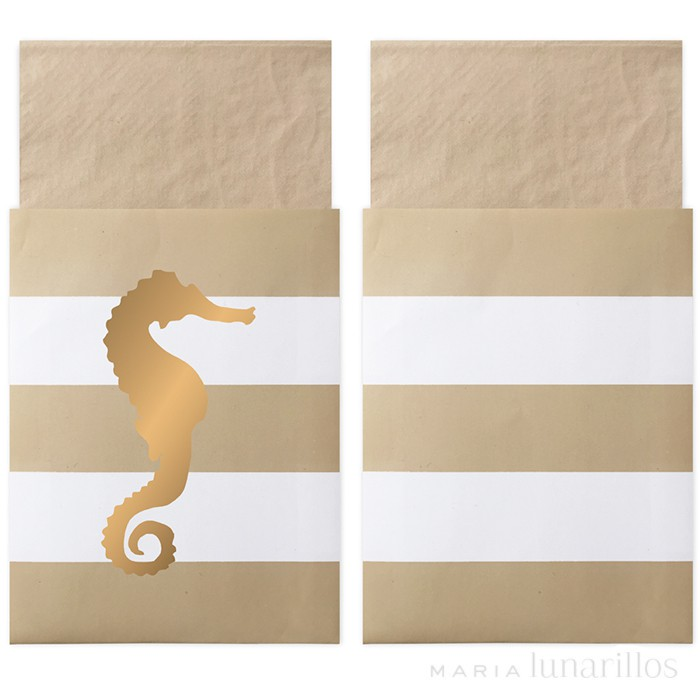 Servilletas de papel en bolsa Preppy Seahorse (20) - Delight Department