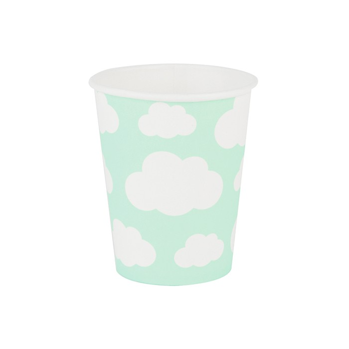 Vasos de papel nubes menta (8) - My Little Day