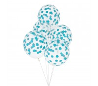 Globos transparentes confeti azul (5) - My Little Day