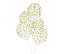 Globos transparentes confeti dorado (5) - My Little Day