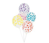 Globos transparentes confeti multicolor (5) - My Little Day
