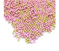 Perlas rosas y doradas metalizadas Happy Choco Dragées 80 gr - Happy Sprinkles