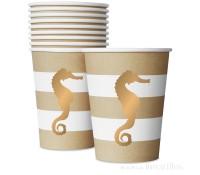 Vasos de papel Preppy Seahorse 250 ml (10) - Delight Department