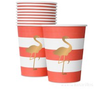 Vasos de papel Preppy Flamingo (10)