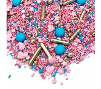 Sprinkles rosa, azul, blanco y plata Royal Glitter 90 gr - Happy Sprinkles
