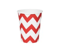 Vasos de papel chevron rojo (8) - My Little Day