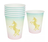 Vasos de papel Unicornio 250 ml (12) - Talking Tables